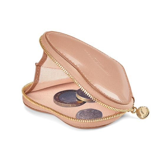 Heart Coin Purse in Rose Gold Patent & Blush Suede from Aspinal of London