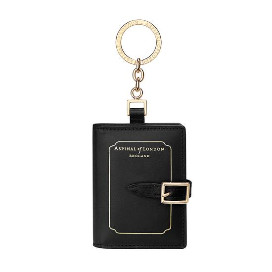 Marylebone Mini Refillable Journal Keyring in Smooth Black from Aspinal of London