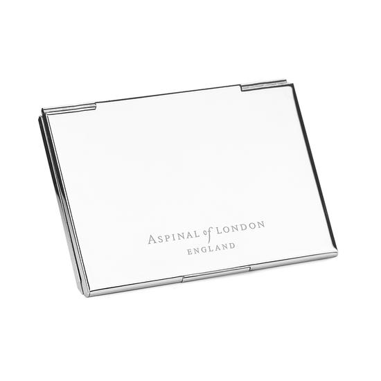 Stainless Steel Business Card Holder in Midnight Blue Lizard from Aspinal of London