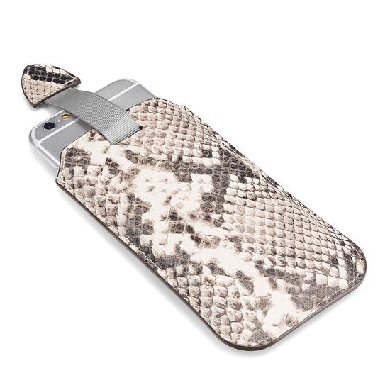 iPhone 6 / 7 Leather Case in Natural Python Print & Silver Suede from Aspinal of London