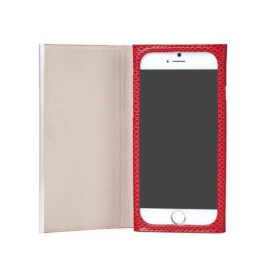 iPhone 6 Leather Book Case in Berry Lizard & Stone Suede from Aspinal of London