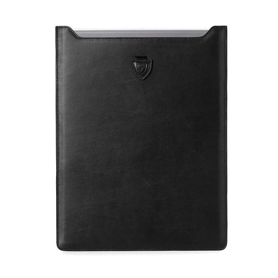 iPad Pro Leather Sleeve in Smooth Black & Cobalt Blue Suede from Aspinal of London