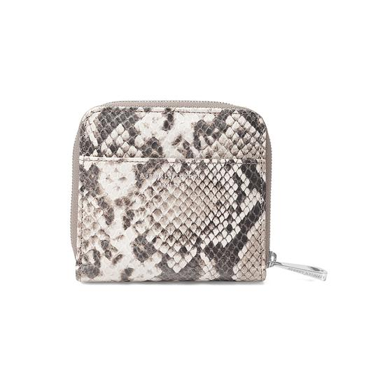 Mini Continental Zipped Coin Purse in Smooth Ivory & Natural Python Print from Aspinal of London
