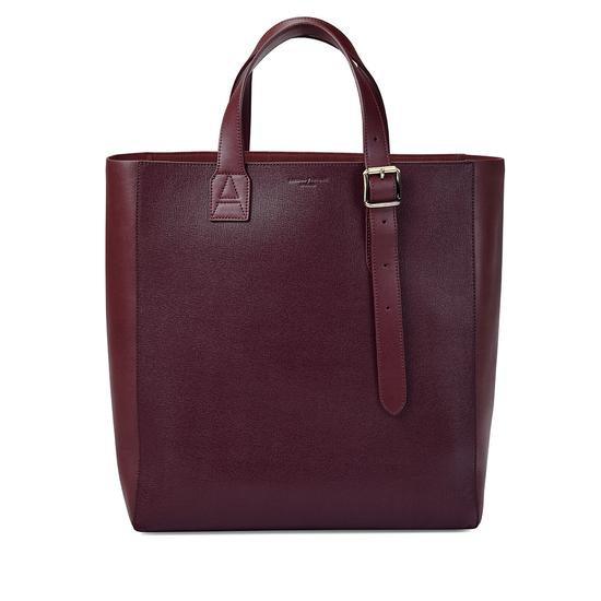 The 'A' Tote in Burgundy Saffiano & Burgundy Suede from Aspinal of London