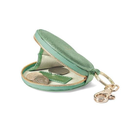 Round Coin Purse with Keyring in Metallic Peppermint from Aspinal of London
