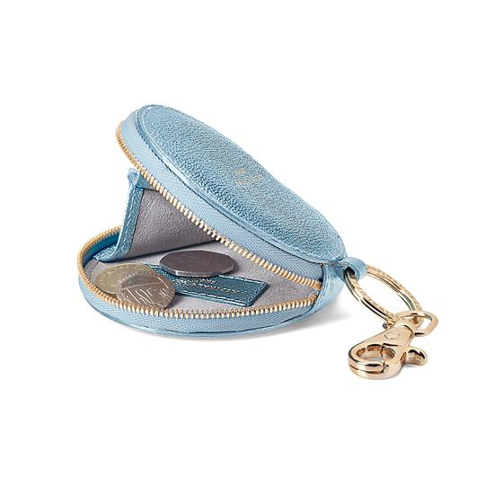 Round Coin Purse with Keyring in Metallic Misty Blue from Aspinal of London