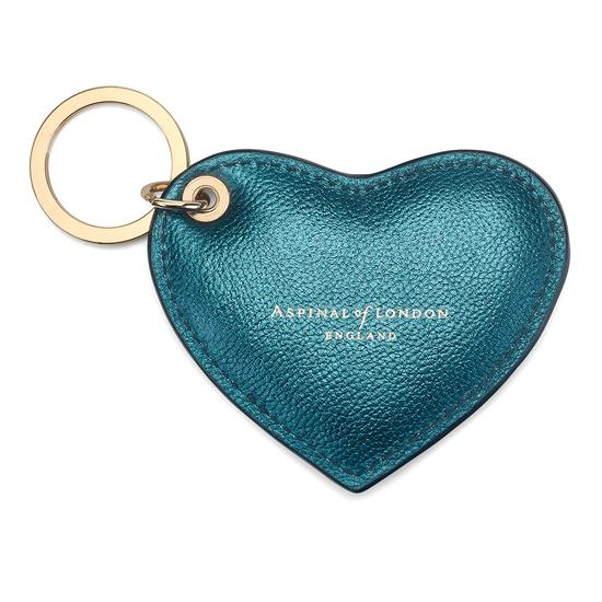 Heart Key Ring in Metallic Peacock from Aspinal of London