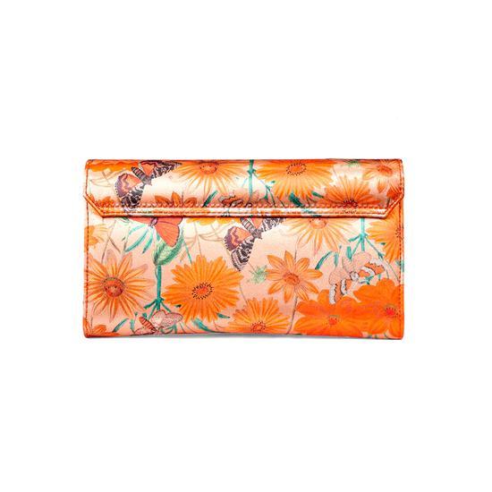Mini Manhattan Clutch in Orange Botanical Silk from Aspinal of London