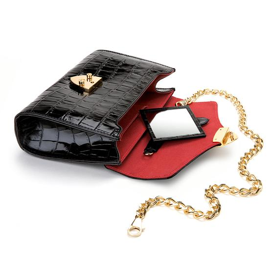 Manhattan Clutch with Chain in Deep Shine Black Croc from Aspinal of London