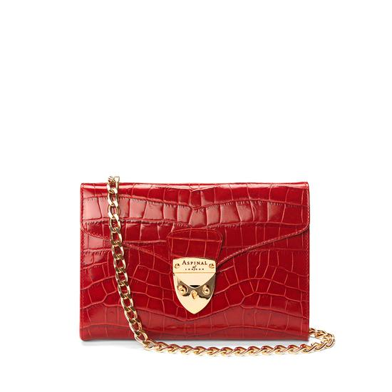 Manhattan Clutch with Chain in Deep Shine Red Croc from Aspinal of London