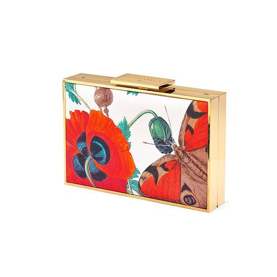 Scarlett Box Clutch in Alabaster Poppy Botanical Silk from Aspinal of London