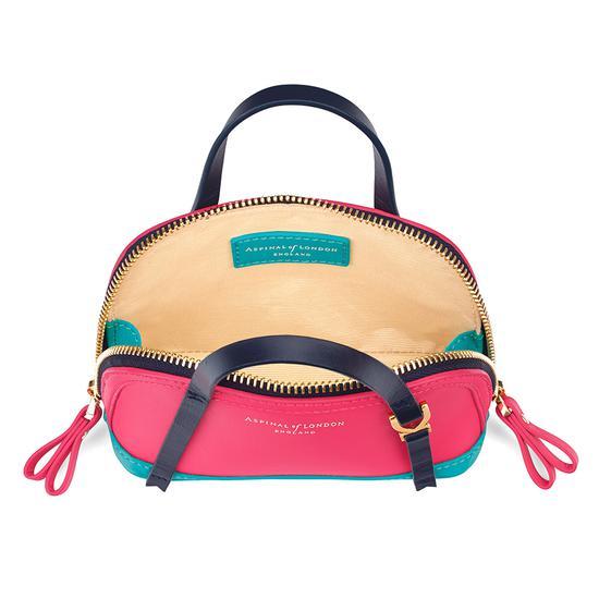 Safiya Make Up Bag in Smooth Neon Pink, Aqua & Navy from Aspinal of London