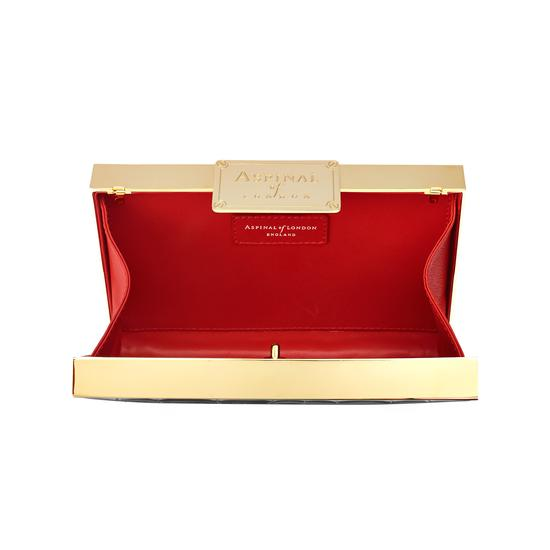 Scarlett Box Clutch in Deep Shine Black Croc from Aspinal of London