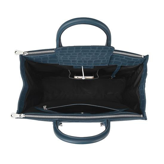 Editor's Tote in Teal Nubuck Croc from Aspinal of London