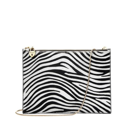Soho Clutch in Smooth Ivory & Zebra Haircalf from Aspinal of London