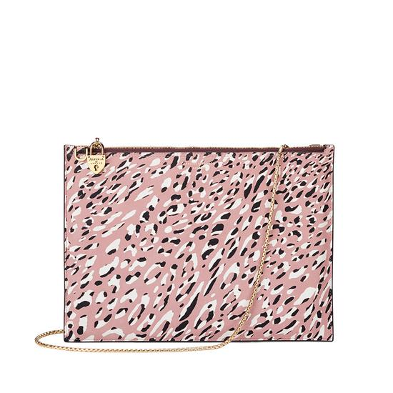 Soho Double Sided Clutch in Leopard Digi Print & Mahogany Polish from Aspinal of London