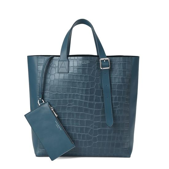 The 'A' Tote in Teal Nubuck Croc & Black Suede from Aspinal of London