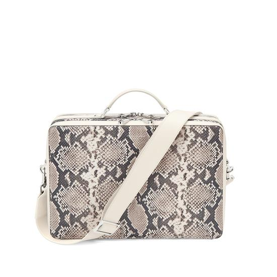 Large Dover Street Bag in Smooth Ivory & Natural Python Print from Aspinal of London