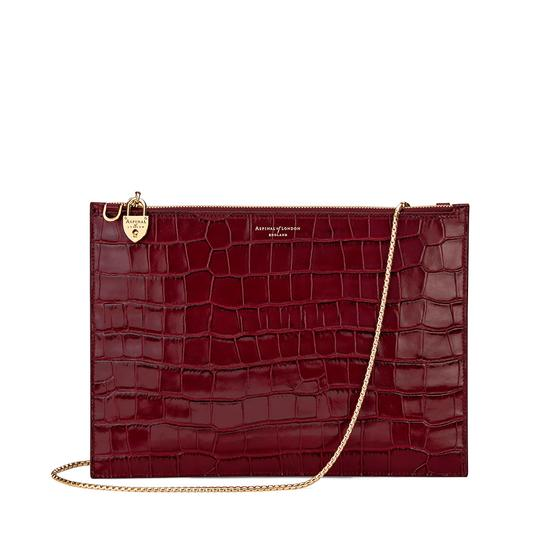 Soho Double Sided Clutch in Deep Shine Bordeaux Croc from Aspinal of London