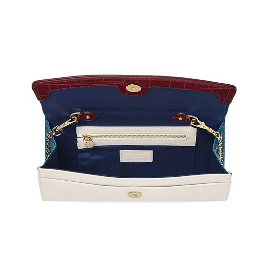 Eaton Clutch in Deep Shine Bordeaux Croc, Smooth Ivory & Peacock Snake from Aspinal of London