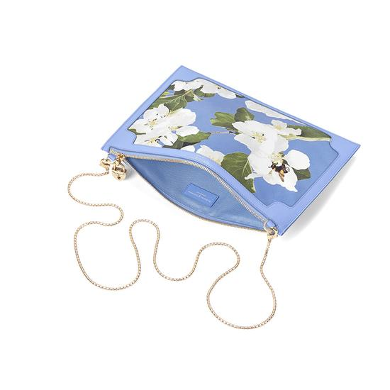 Beautiful Soul Soho Clutch in Smooth Misty Blue & Blossom Print from Aspinal of London