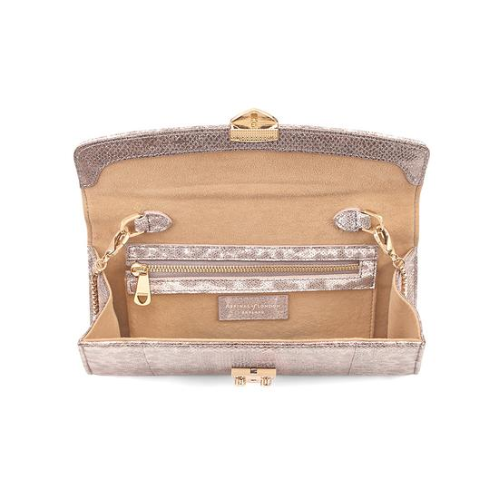 Mini Eaton Clutch in Rose Gold Snake from Aspinal of London