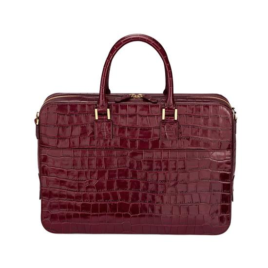 Small Mount Street Bag in Deep Shine Bordeaux Croc from Aspinal of London