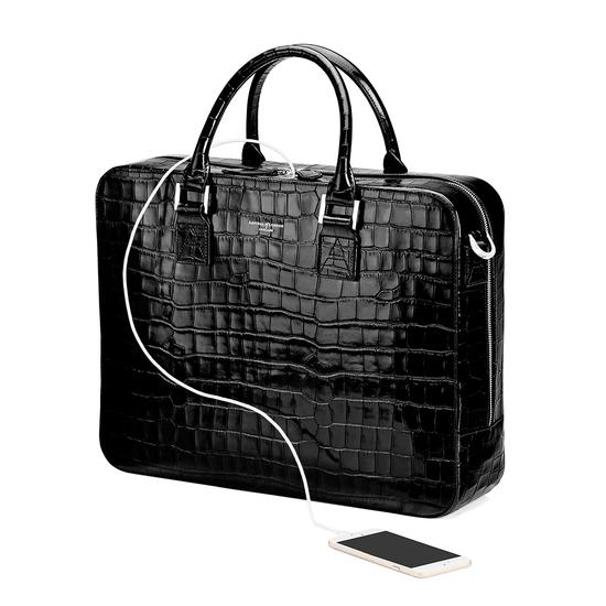 Large Mount Street Bag in Deep Shine Black Croc from Aspinal of London