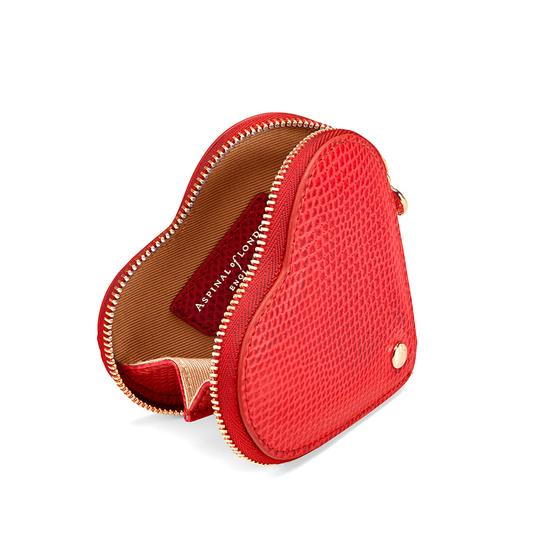 Heart Coin Purse in Berry Lizard from Aspinal of London