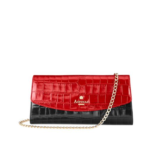 Eaton Clutch in Deep Shine Black Croc, Red Croc & Gold Metallic from Aspinal of London