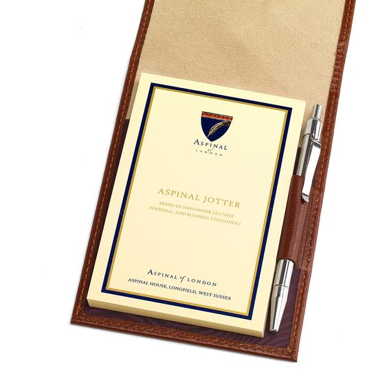 Pocket Memo Pad in Smooth Cognac & Stone Suede from Aspinal of London