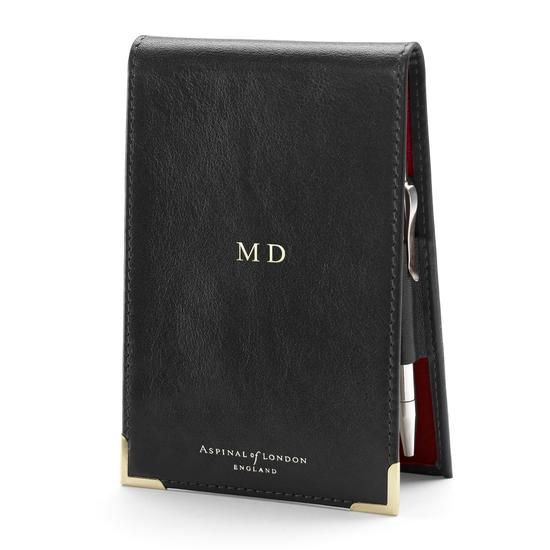 Pocket Memo Pad in Smooth Black & Red Suede from Aspinal of London