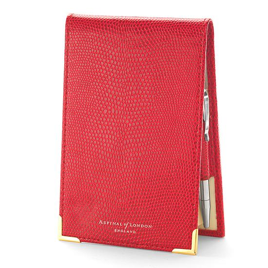 Pocket Memo Pad in Berry Lizard & Cream Suede from Aspinal of London