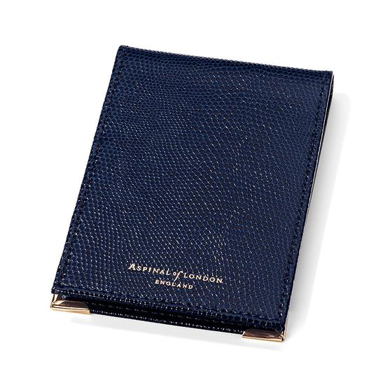 Pocket Memo Pad in Midnight Blue Lizard from Aspinal of London