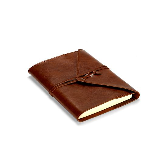 Envelope Wrap A5 Refillable Leather Journal in Brown from Aspinal of London