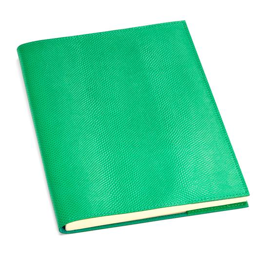 A4 Refillable Leather Journal in Grass Green Lizard from Aspinal of London