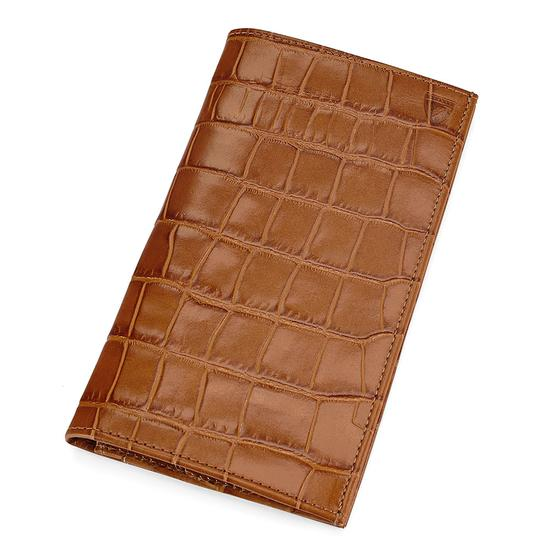 Large Breast Pocket Wallet in Deep Shine Vintage Tan Croc & Cappuccino Suede from Aspinal of London