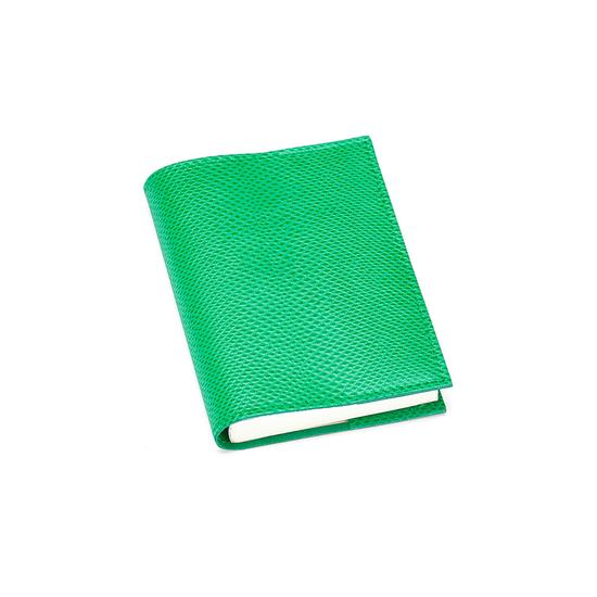 Refillable Pocket Notebook Journal in Grass Green Lizard from Aspinal of London