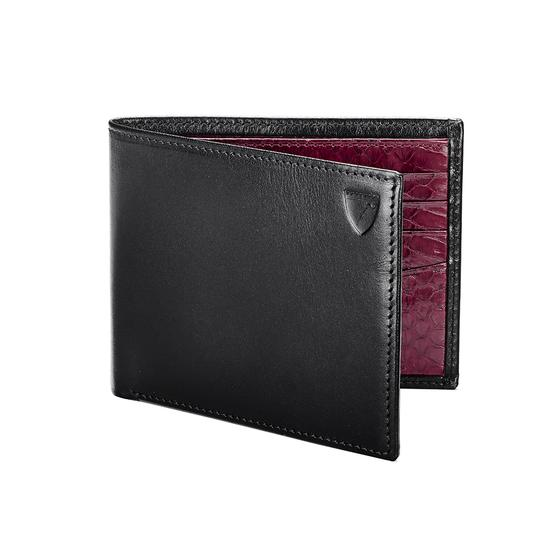Billfold Wallet in Smooth Black & Bordeaux Snakeskin from Aspinal of London