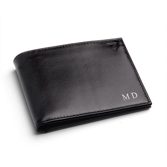 Billfold Wallet in Smooth Black & Forget Me Not Snakeskin from Aspinal of London