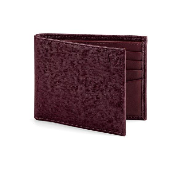 Billfold Wallet in Burgundy Saffiano & Black Suede from Aspinal of London