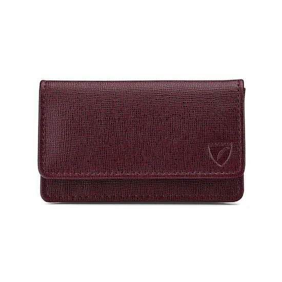 Business & Credit Card Case in Burgundy Saffiano & Black Suede from Aspinal of London