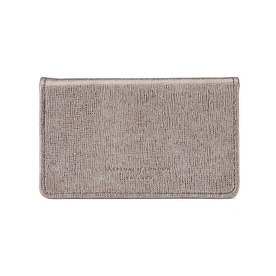 Business & Credit Card Case in Gunmetal Saffiano & Deep Fuchsia Suede from Aspinal of London