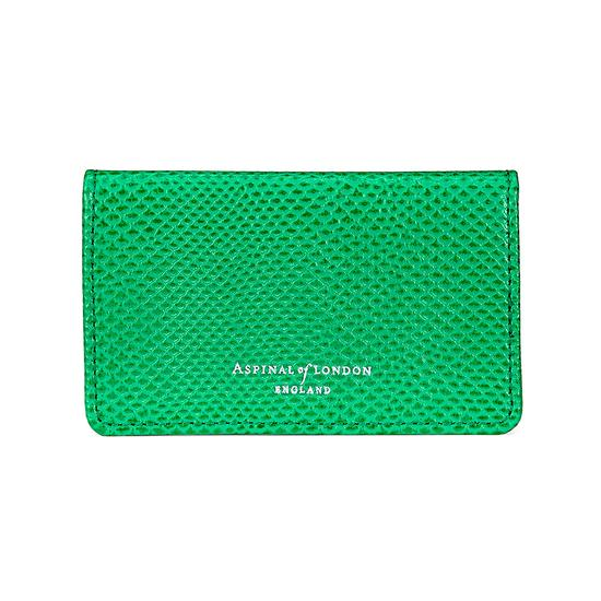 Business & Credit Card Case in Grass Green Lizard & Cream Suede from Aspinal of London