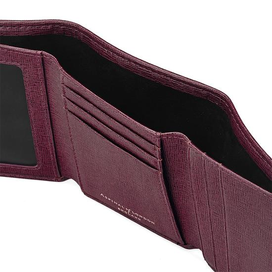 Trifold Wallet in Burgundy Saffiano from Aspinal of London