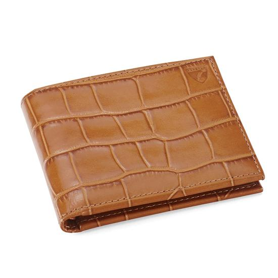Billfold Wallet in Deep Shine Vintage Tan Croc & Cappuccino Suede from Aspinal of London