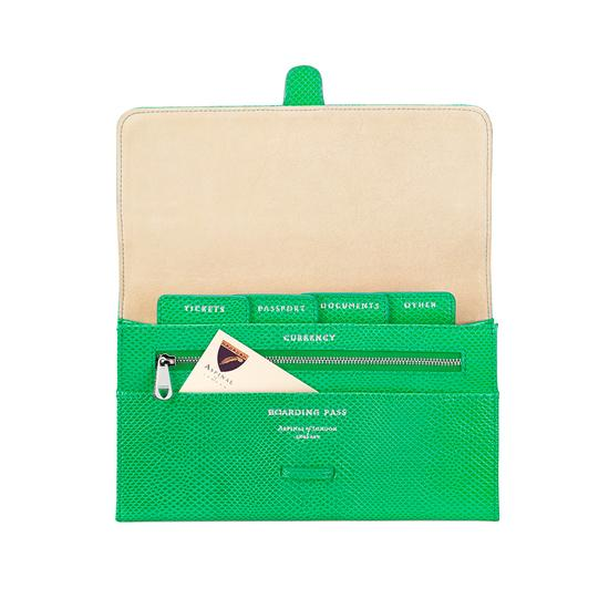 Classic Travel Wallet in Grass Green Lizard & Cream Suede from Aspinal of London