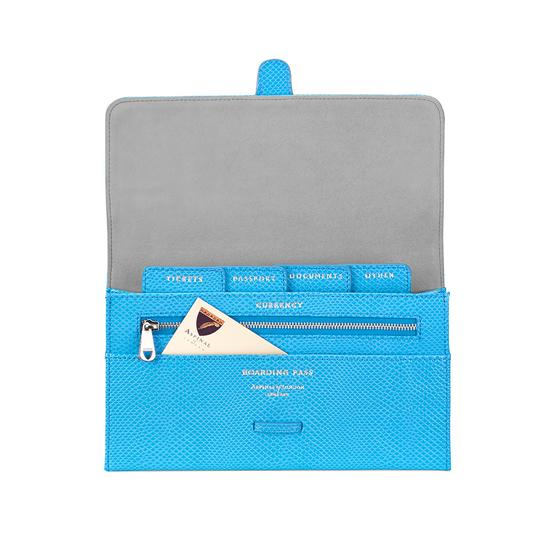 Classic Travel Wallet in Aquamarine Lizard & Silver Suede from Aspinal of London