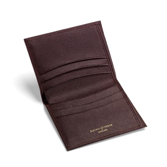 Double Fold Credit Card Case with Notes Pocket in Chocolate Brown Saffiano from Aspinal of London