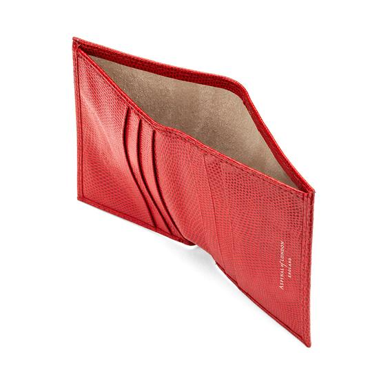 Double Credit Card Case with Back Pocket in Berry Lizard & Cream Suede from Aspinal of London